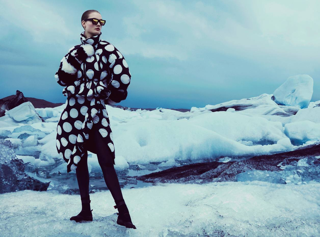 MSGM nylon jacket, £480, and matching skirt, £410. Moncler Grenoble goat hair and leather gloves, £700. Koral polyamide-mix leggings, £85. House of Holland Finish Him sunglasses, £120. O'Neill Heat RT boots, £40