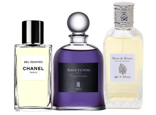 From far left: Chanel Bel Respiro, £230 for 200ml EDP. Serge Lutens De Profundis, €165 for 75ml EDP. Etro Messe de Minuit, £76 for 50ml EDT