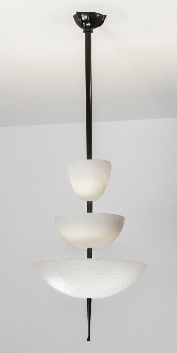 The Achille Salvagni white-bronze Simposio chandelier (€30,000) reflects the shape of a Japanese temple
