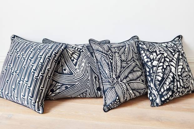 Happy + Co's cushions feature bold black and white prints