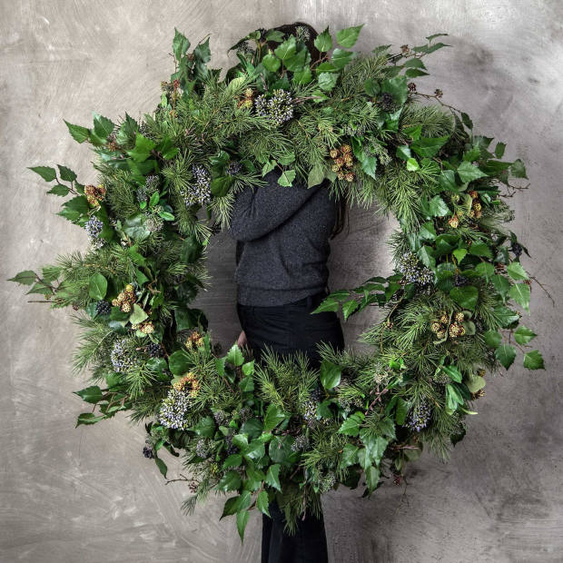 Philippa Craddock 1m-wide decorated wild faux spruce wreath, £680