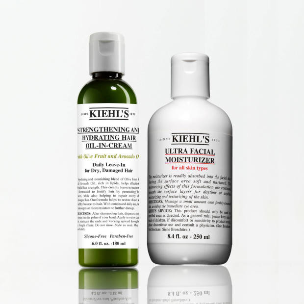 From left: Kiehl's Damage Repairing Leave-In Treatment, £19 for 75ml, and Ultra Facial Moisturizer SPF30, £17 for 75ml