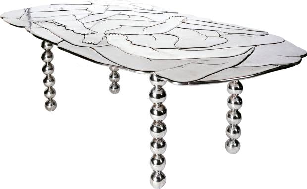 Chris Wolston for The Future Perfect sandcast, mirror-polished aluminium Body table, price on request