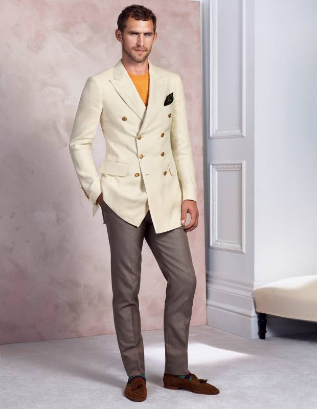 Dunhill cotton blazer, £1,425, and trousers, £330