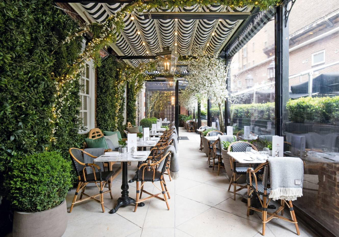 The Dalloway Terrace at The Bloomsbury hotel in London, which has hada makeover spearheaded by Martin Brudnizki