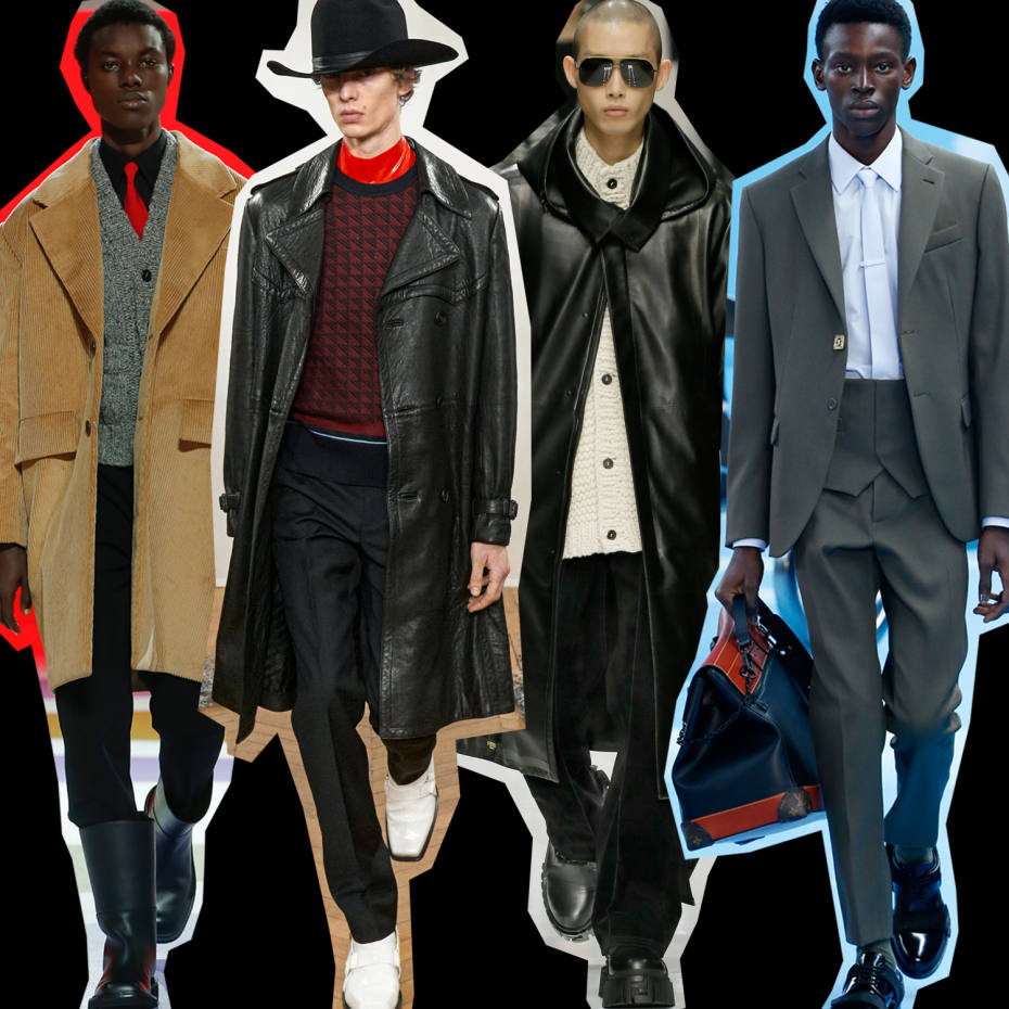 Runway looks from (left to right) Prada, Givenchy, Fendi and Louis Vuitton