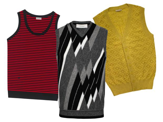 From left: Pringle merino-lambswool patchwork Argyle vest, £325. APC wool-mix Sitka jumper, £190. Bottega Veneta wool Lurex vest, £605. Dior Homme wool-mix sleeveless jumper, £400
