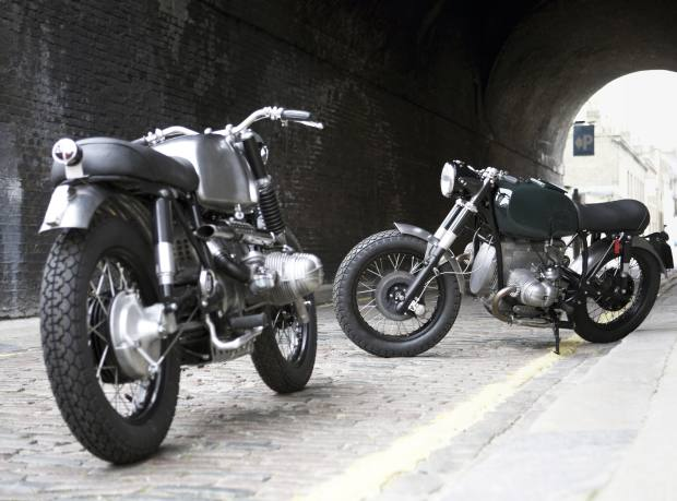 Untitled Motorcycles UM-2 Scrambler (left), £12,500, and BMW‑based UM-3 Street, commissioned by John Watts; a similar bike would cost £12,500 to build