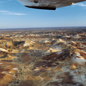 The Anna Creek Painted Hills in South Australia as seen from Trevor Wright's plane.