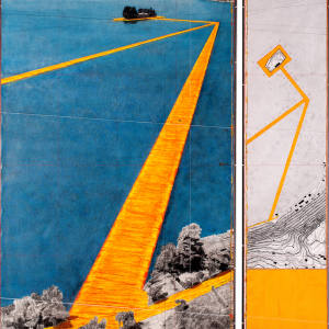 CHRISTO 2015 The Floating Piers (Project 2015 for Lake Iseo, Italy). Pencil, charcoal, enamel paint, cut-out photographs by Wolfgang Volz, fabric sample and topographic map on vellum  (165cm x 144.6cm, 64.96in x 56.93in), $900,000