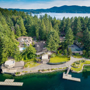 Spectacular scenery and two deep‑water docks are on offer at this 10-bedroom waterfront estate in Victoria, British Columbia, about £4.3m