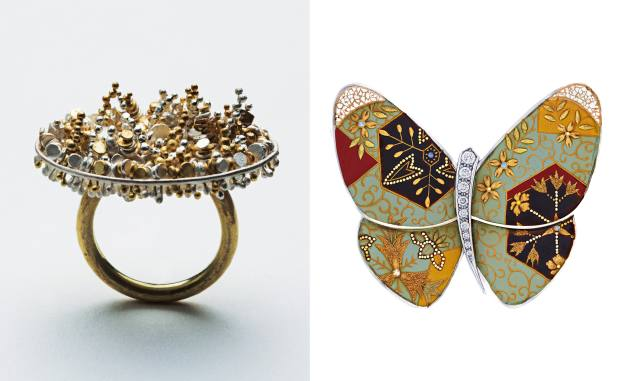 From left: Romilly Saumarez Smith gold, silver and diamond Unicorn ring, £3,000. Junichi Hakose for Van Cleef & Arpels white gold, diamond and mother-of-pearl butterfly clip, price on request