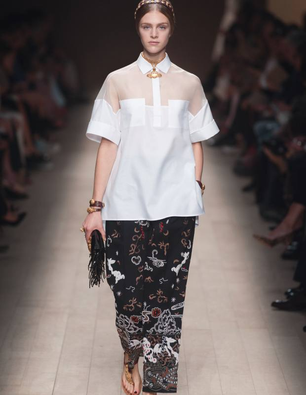 Valentino cotton-organza shirt, £605, and cotton-gabardine trousers, £570