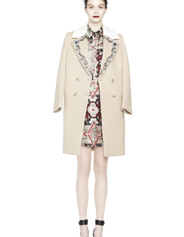 Embellished wool-mix Ariana coat, £1,188, silk Mila dress, price on request, and leather pumps, £245