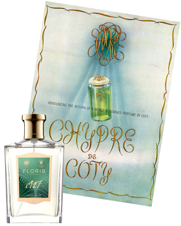 Floris 1927, £140 for 100ml EDP, has echoes of Chypré de Coty, seen here in a c1940s advert