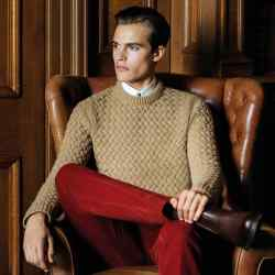 Gieves & Hawkes rack-stitch merino/cotton jumper, £395
