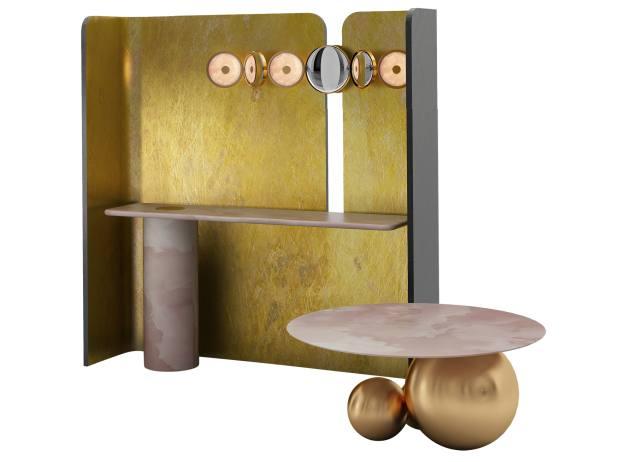 Studio MVW bronze, marble, stainless-steel, mirror and pink jade JinTang installation, €123,000
