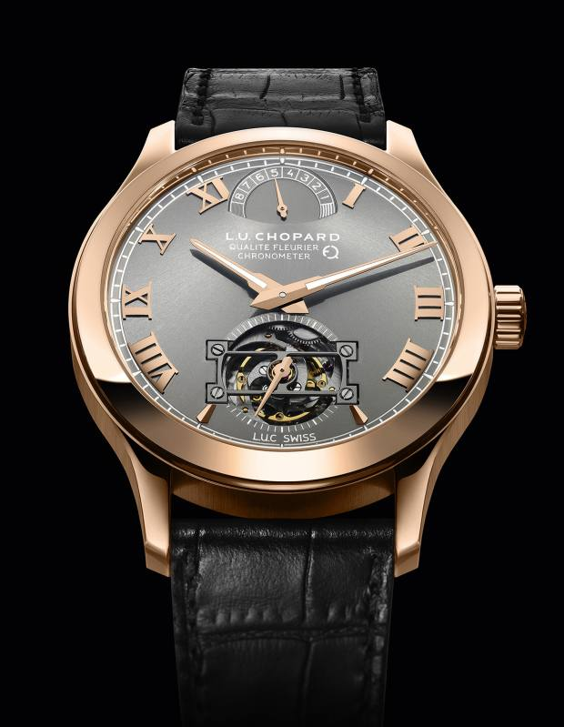 Chopard 18ct rose-gold LUC Tourbillion Qualité Fleurier Fairmined with alligator strap, £93,300- one of a limited edition of 25