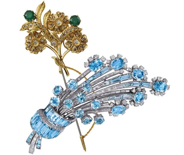 From top: Dolce & Gabbana gold, diamond and emerald brooch, about £6,785. Moussaieff white gold, diamond and aquamarine brooch, price on request