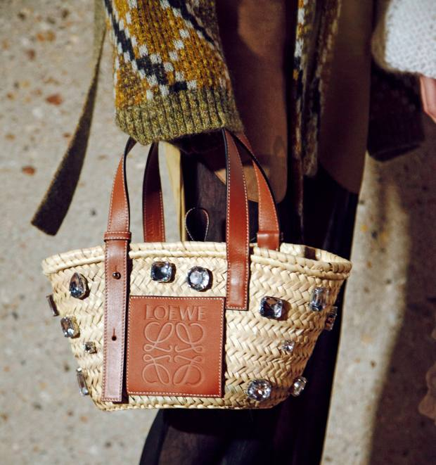 Loewe raffia, calfskin and crystal bag, £550
