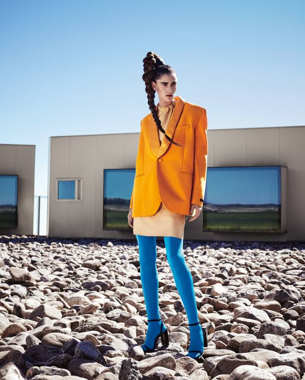 Balenciaga wool jacket, £1,365, cotton jersey dress, £925, spandex pantatights, price on request, and leather shoes, £395