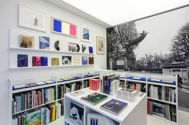 An installation of Yves Klein books at the Gagosian gallery in Paris in 2018