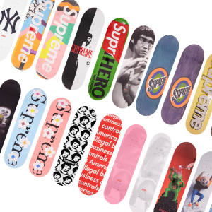 Bonhams will present a single lot of 131 Supreme skateboards bearing images by leading artists, estimate £100,000–£150,000