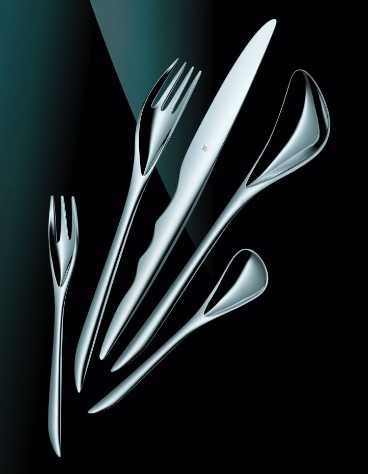 Stirling Prize winner Zaha Hadid brings her curvilinear style to mirror-polished cutlery for WMF (£95 a five-piece set).