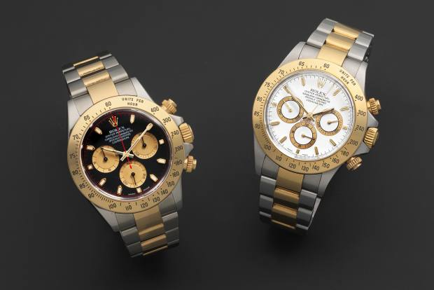Rolex Cosmograph Daytona, black face estimate £6,000 to £8,000, and white face, estimate £5,000 to £7,000