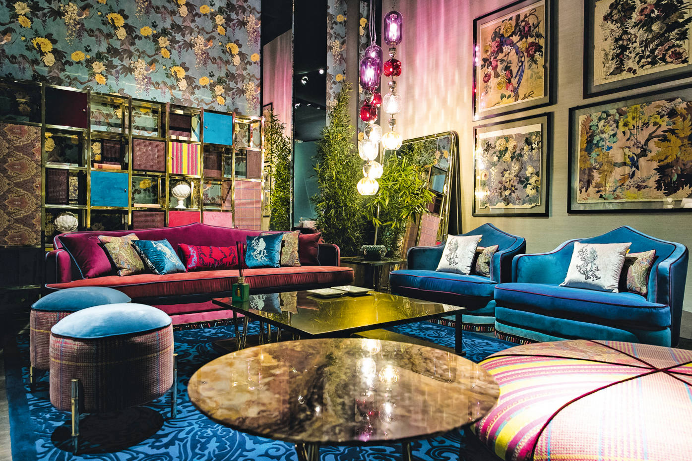 Etro's offering included the velvet Amina sofa, €13,850, and armchair, €6,700, wenge-wood and fabric Bambara pouf, €12,800, and Robin wallpaper, €135