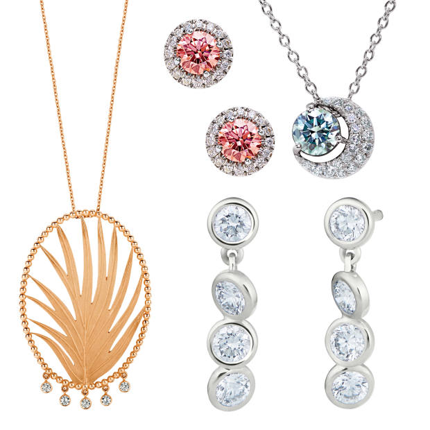 Clockwise from left: Kimai 18ct gold Leaf necklace with diamonds, £1,055. De Beers Lightbox 10ct white-gold Halo earrings with pink and white diamonds, $1,000, and sterling-silver Blue Moon pendant with blue and white diamonds, $700. Courbet recycled white-gold earrings with diamonds, €2,800