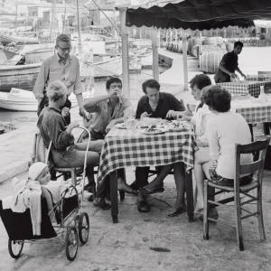 Leonard Cohen, third from left, with friends in Greece, October 1960