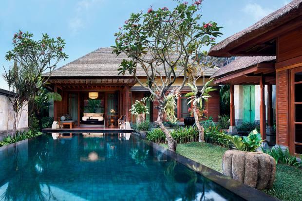A riverfront pool villa at Mandapa, a Ritz‑Carlton Reserve