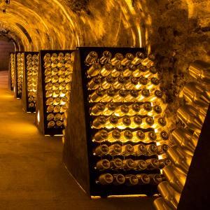 Goldmine: bottles of Armand de Brignac champagne in the Cattier cellars, in Montagne de Reims