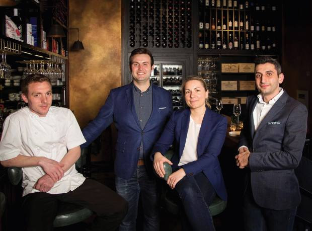 The Social Wine & Tapas team, from left, head chef Frankie Van Loo, restaurant manager Karl Vickers, executive sommelier Laure Patry and head sommelier Artur Aronov