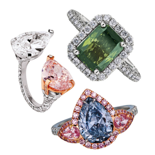 Clockwise from left: Messika pink and white diamond and white and rose gold Toi et Moi ring. De Beers fancy dark yellowish-green and white diamond and white gold Aura ring. The One and Only One fancy intense blue and Argyle pink diamond, platinum and gold ring. All prices on request