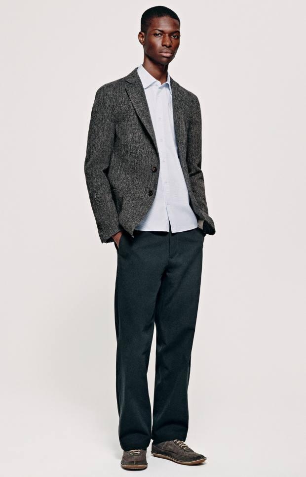 Jijibaba wool tweed jacket, £570, and cotton shirt, £293