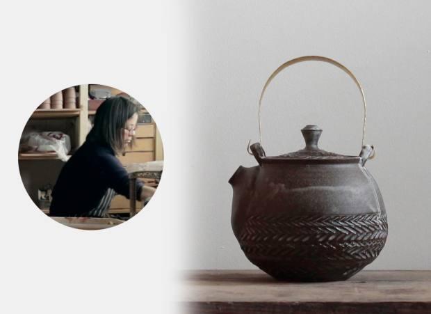 Mizuyo Yamashita's terracotta,stoneware andbrass Herringbone teapot, £280