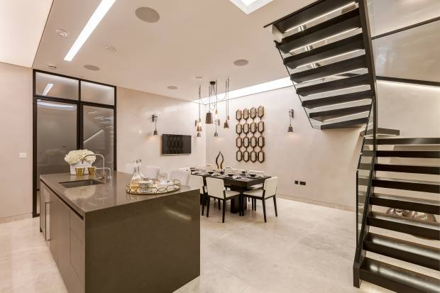 The elegantly appointed kitchen on Queen's Gate Place Mews
