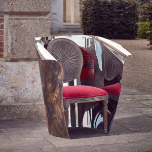 Ron Arad and Oka have produced 10 Ako chairs, hand-finished by the designer. The chair takes Oka's Washakie chair and references Arad's 1989 design Chair by its Cover