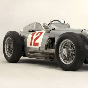The W196 00006/54. Its open design was requested by racing supremo Juan Manuel Fangio, who liked to see where he was placing the wheels on the circuit