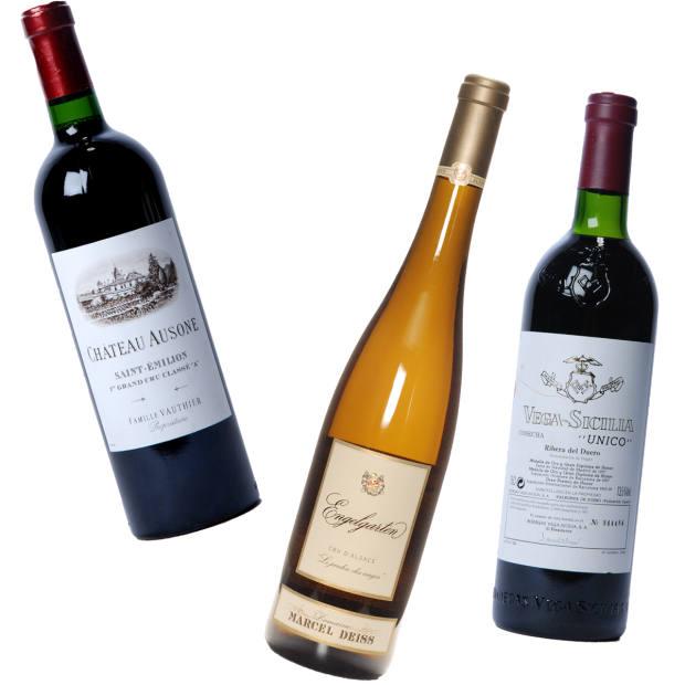 From left: Château Ausone Saint-Emilion 2005, £2,090; Marcel Deiss Engelgarten 2014, £38; Vega Sicilia Unico 2005, £669.60 for three