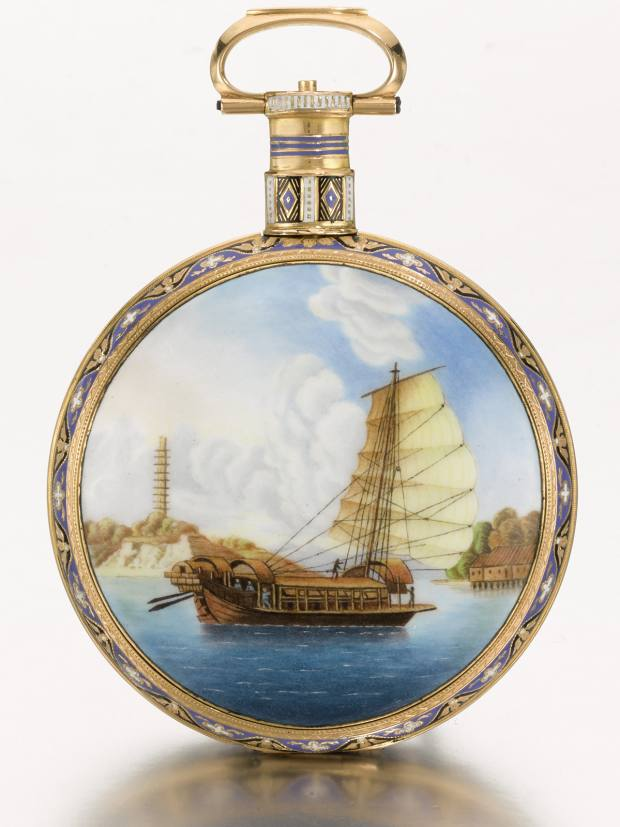 Ilbery's open-faced pocket watch (£35,000-£55,000), painted with a Chinese junk