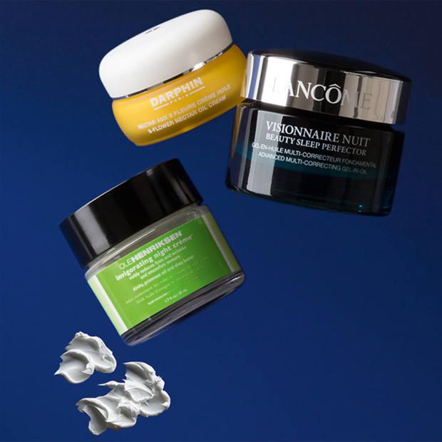 From top: Darphin 8-Flower Nectar Oil Cream, £65 for 30ml. Lancôme Visionnaire Nuit, £60 for 50ml. Ole Henriksen Invigorating Night Crème, £47 for 50ml