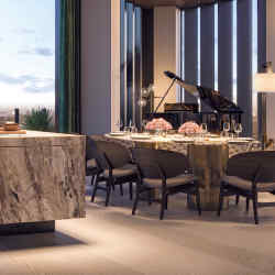 Rossana's K-In K Out kitchen, from £55,000, features an Arabescato island with a eucalyptus veneer – a stone slab opens to reveal cooking spaces, the overhang creating a counter big enough for 12
