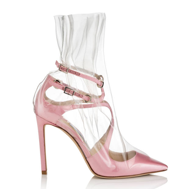 """The Claire 100 heel, £850, which achieves a """"glass slipper"""" effect by being wrapped in ruched TPU"""