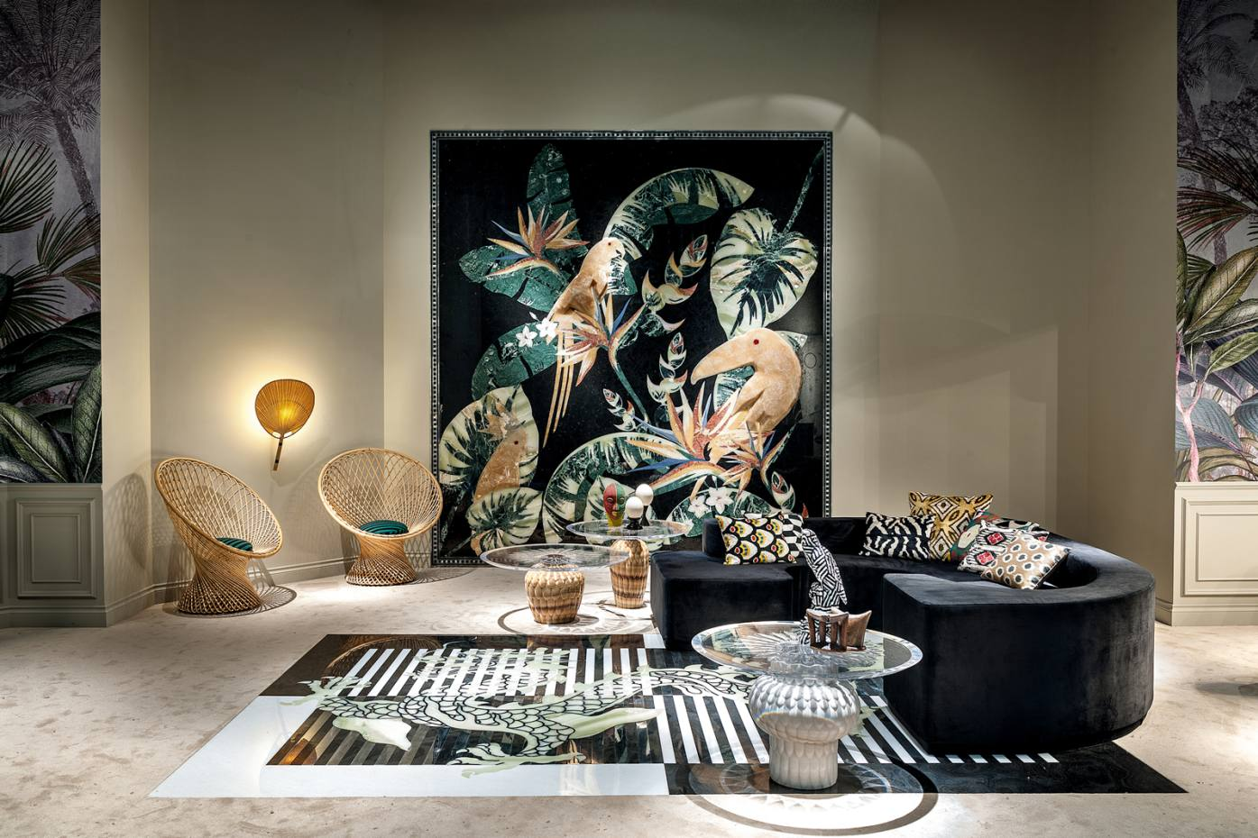 Citco Privé's marble and onyx Samia wallcovering, £163,900, depicting a tropical forest, ispart oftheItalian marble specialist's new range of jungle-inspired furnishings