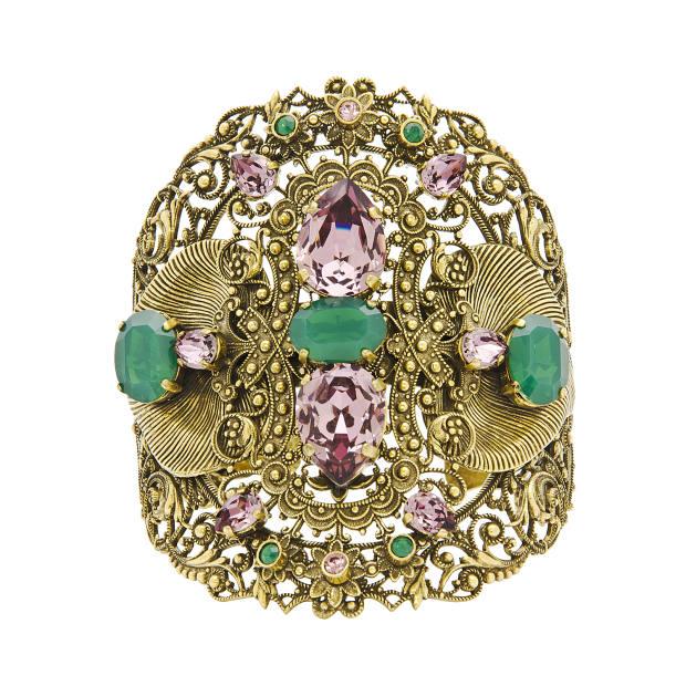 T Arrigoni Swarovski-crystal and old-gold-plated brass bracelet, £250