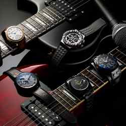 Clockwise from top left: Parmigiani Fleurier steel Tonda Métrographe MJF, £10,000. H Moser & Cie rose gold and lacquer Endeavour Small Seconds Bryan Ferry, £12,600. Hublot steel Big Bang Depeche Mode, to order, £13,400. Tag Heuer aluminium Formula 1 Special Edition David Guetta, £1,850. Bamford Watch Department and Apple Corps titanium-coated Rolex Yellow Submarine Datejust, £13,500. Zenith titanium El Primero Chronomaster 1969 Tribute to The Rolling Stones, £9,700Shaftesbury electric guitars, from £499, courtesy of Rose Morris & Co, www.rosemorris.com. Shure microphone, £99, courtesy of Yamaha Music London, www.yamahamusiclondon.com
