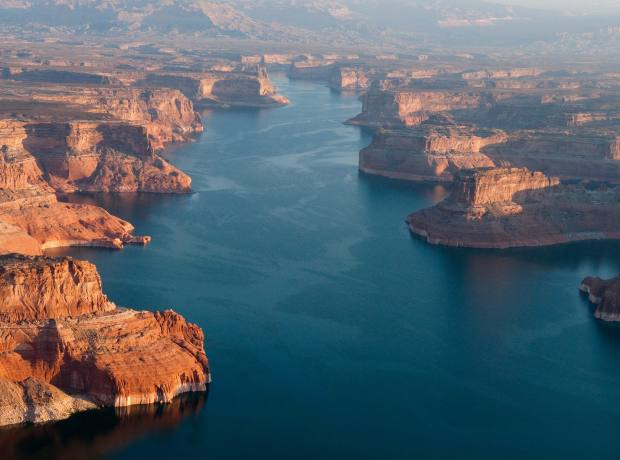 Lake Powell on the Colorado River at sunrise